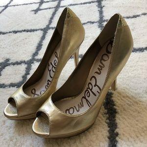 Sam Edelman metallic gold peep toe heels